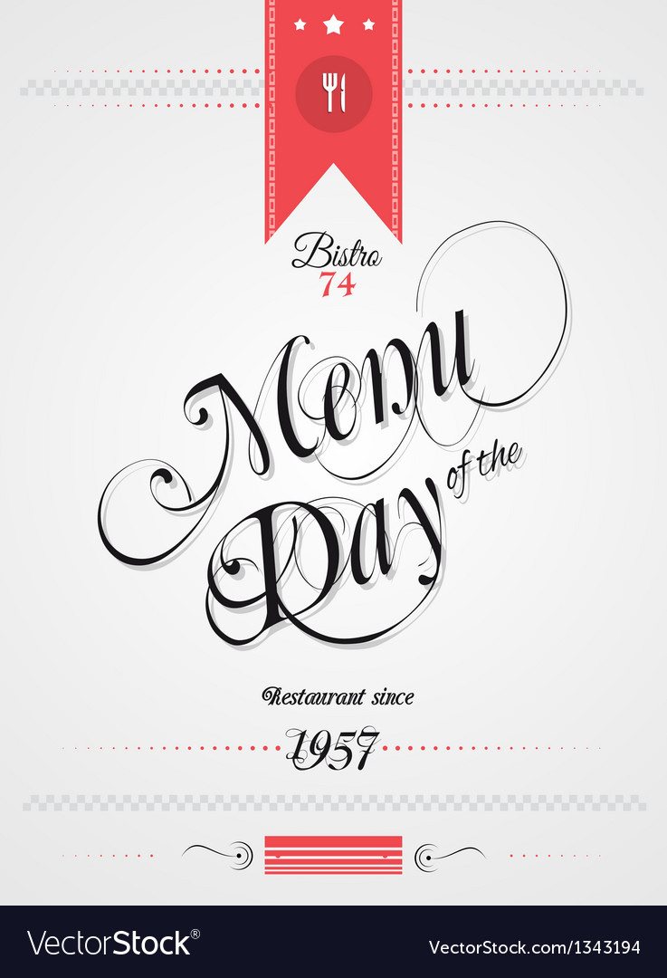 Old style vintage menu day background vector