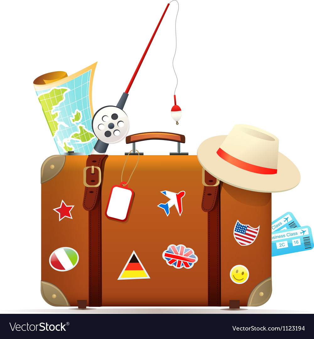 Old travel suitcase with traveling accessories vector image