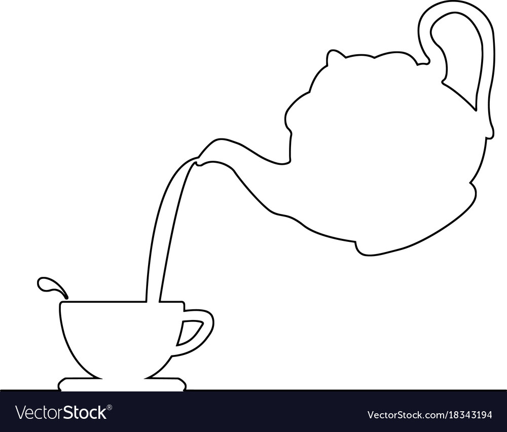 Pouring coffee from kettle to tea cup