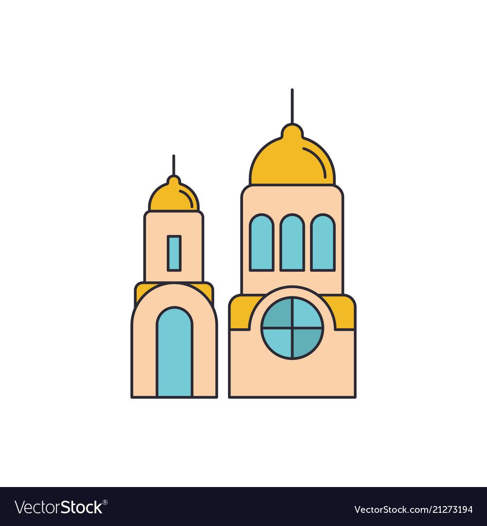 Santorini church icon cartoon style