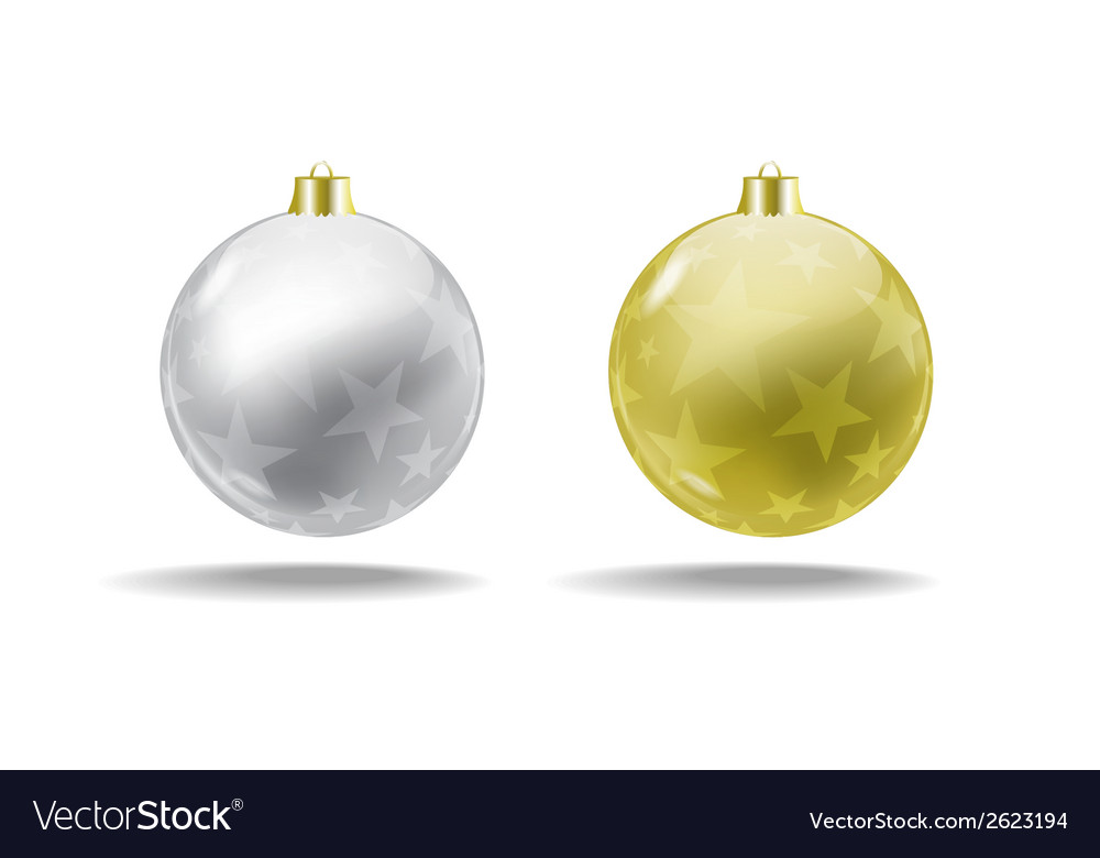 silver and gold christmas tree balls isolated vector image