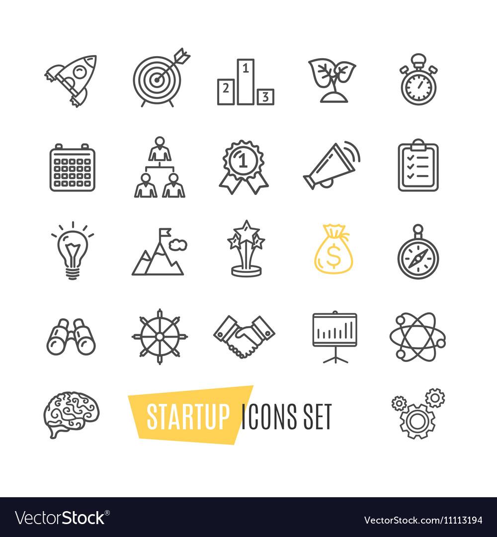 Start Up Motivation Brainstorming Icon Set