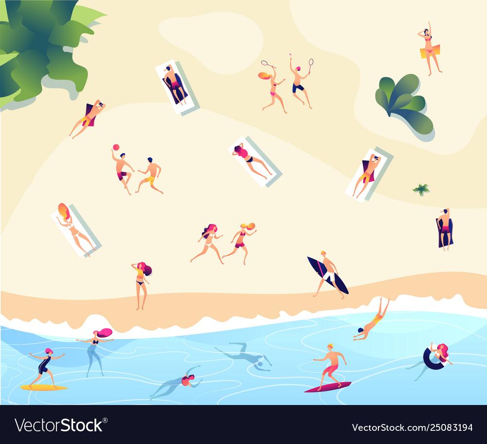 Summer beach people persons swim dive in sea