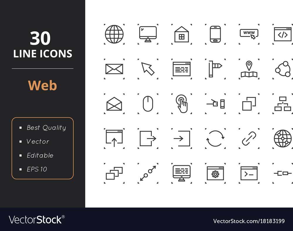 30 web line icons vector
