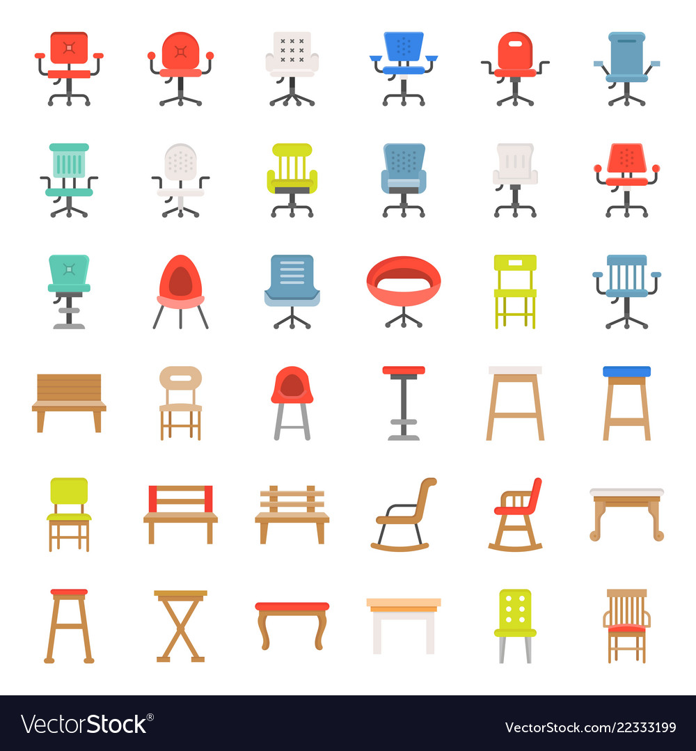 Armchair Sofa And Bench Flat Design Icon Vector Image