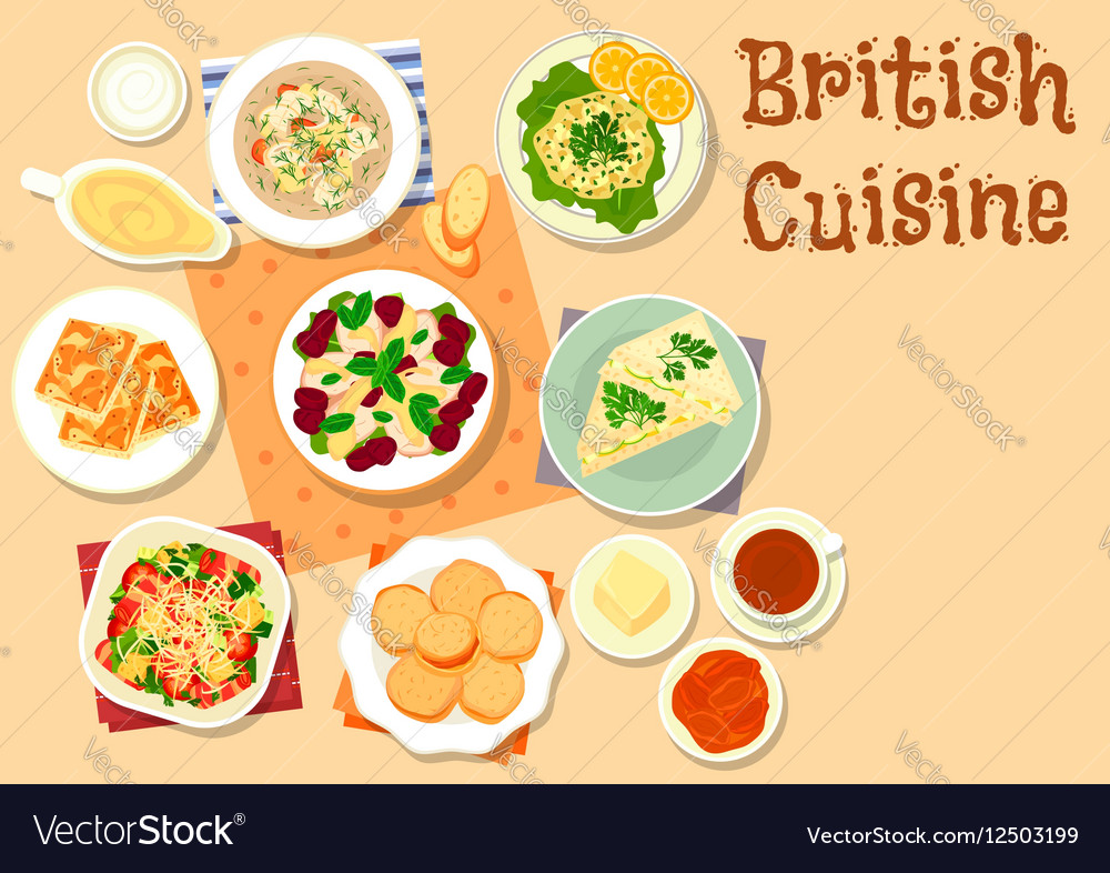 British cuisine traditional breakfast dishes icon vector image forumfinder Gallery