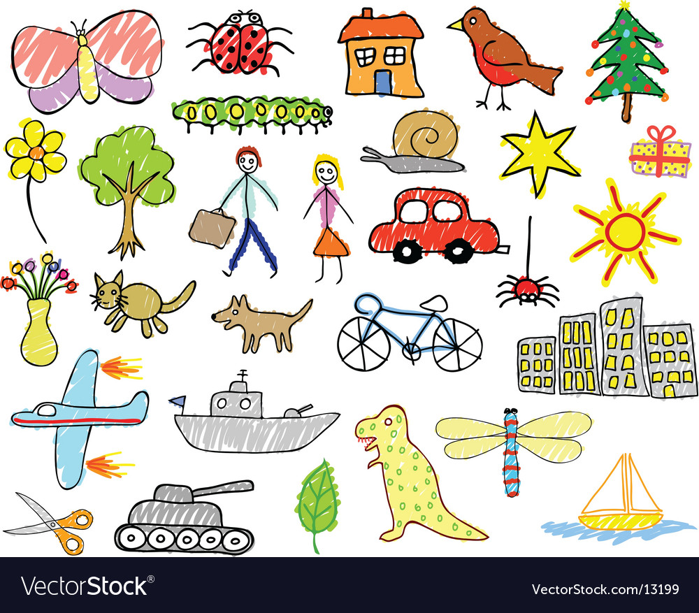 Child drawings vector image