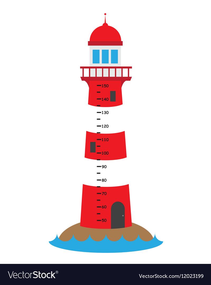 Children wall meter lighthouse vector image