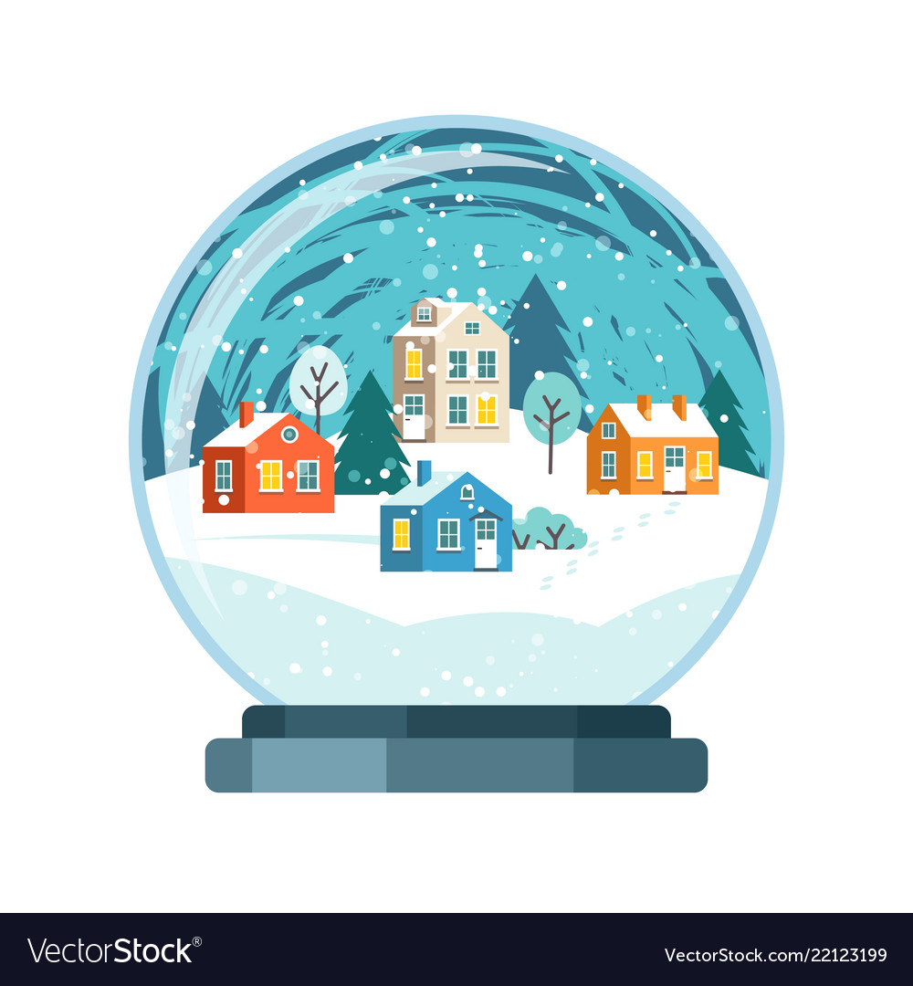 Christmas snow globe with small houses