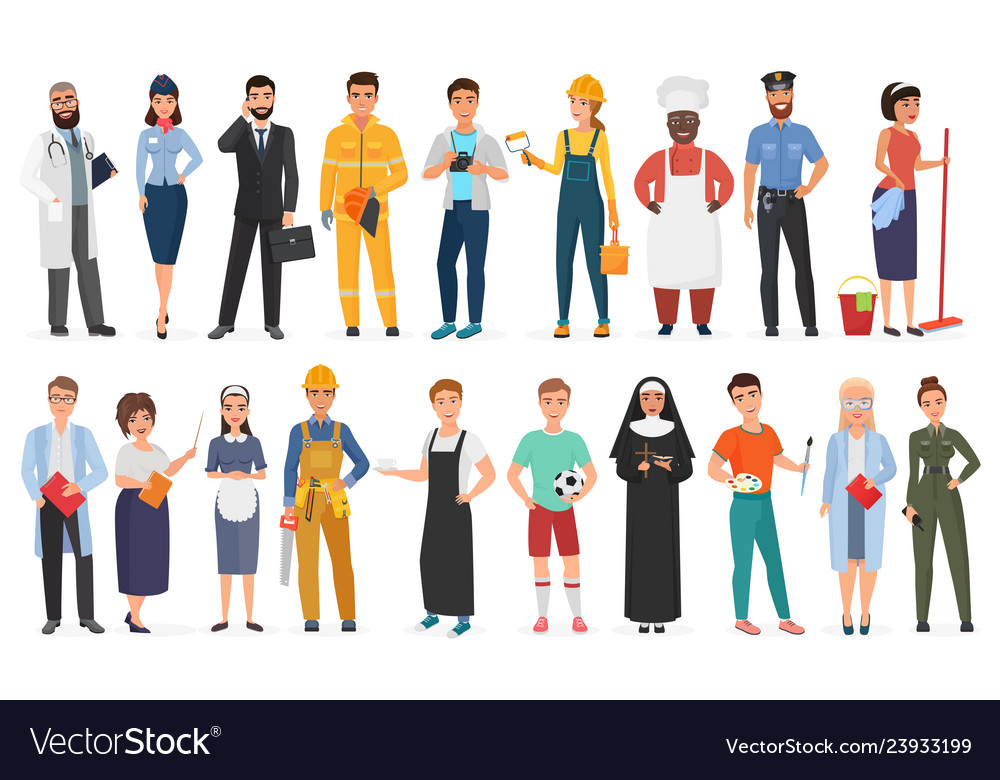 Collection of men and women people workers of