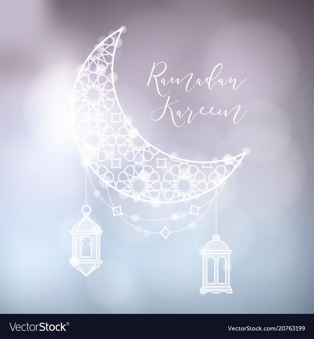 Evening sky with ornamental moon arab lanterns
