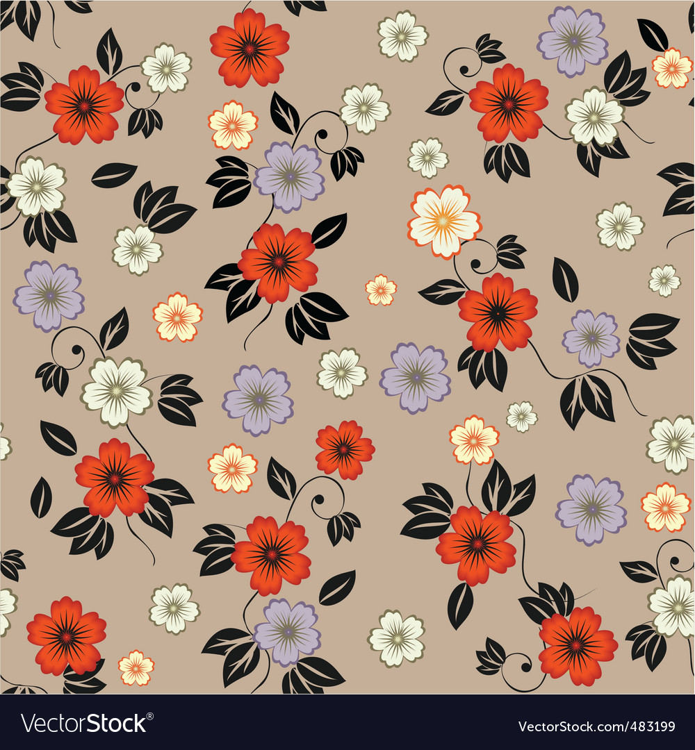 Floral Wallpaper Pattern Royalty Free Vector Image