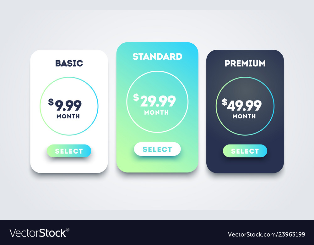 Pricing table set design for business price plan