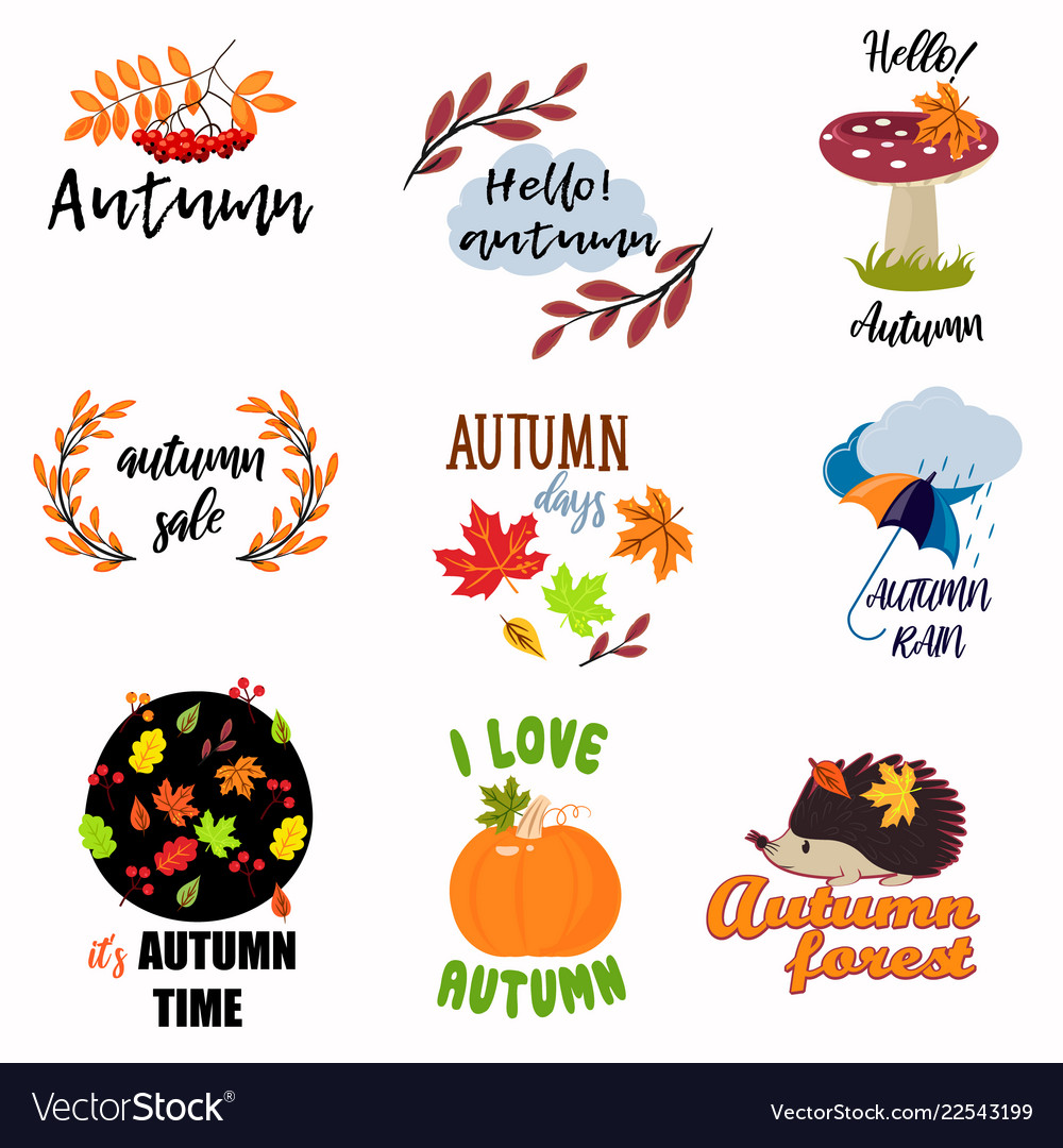 Set of colorful juicy autumn badges with leaves
