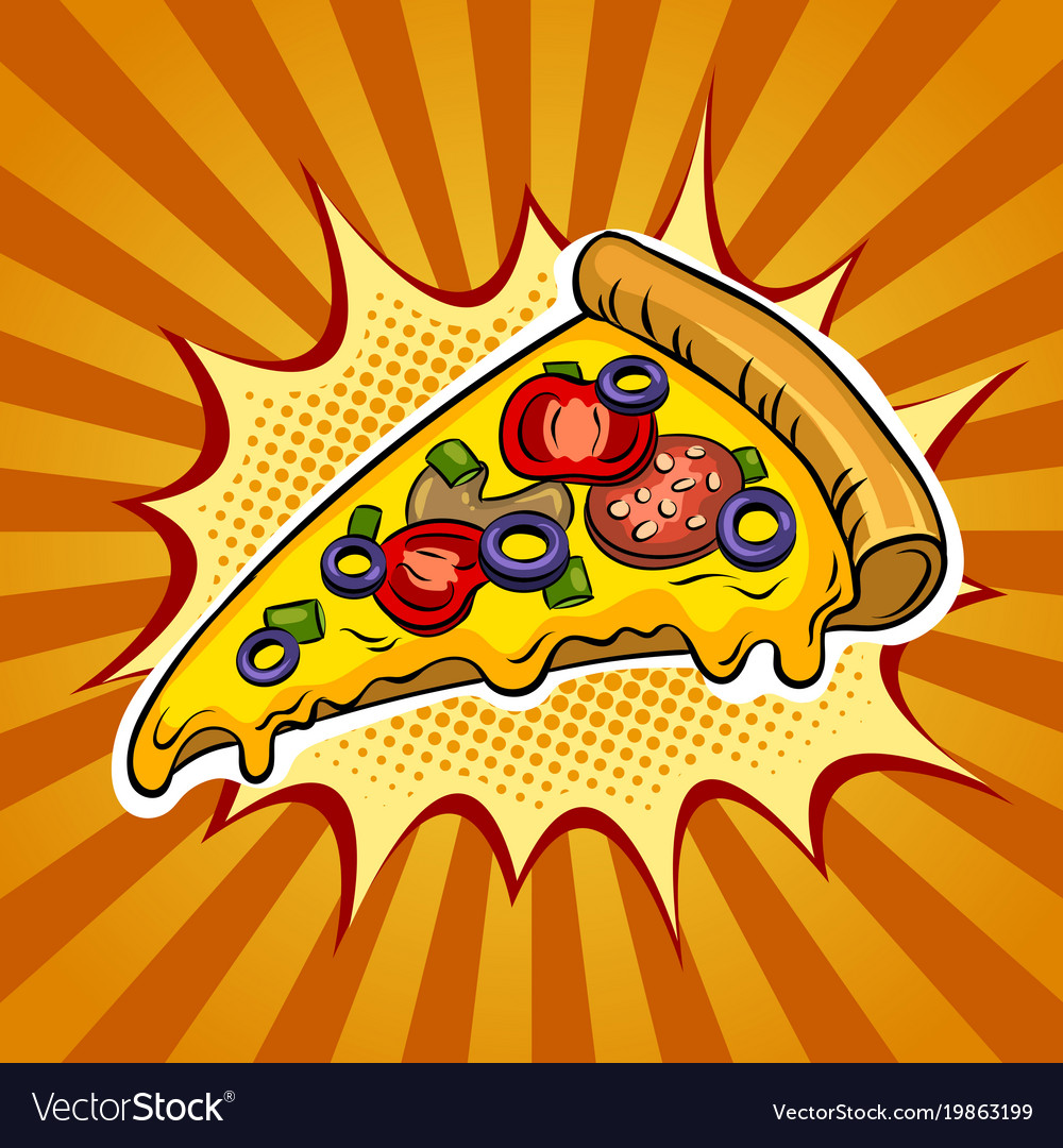 slice of pizza pop art royalty free vector image