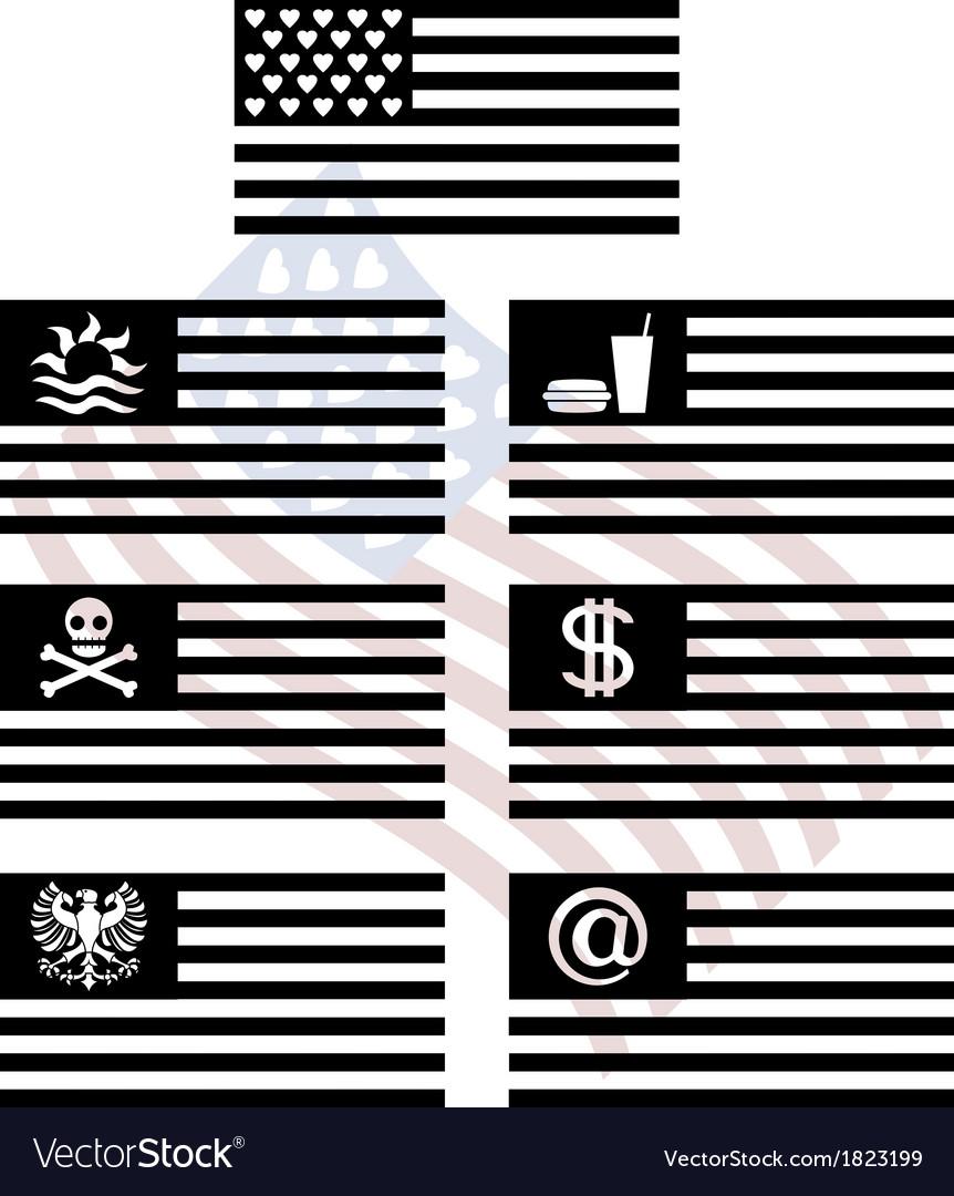 Stencils of fantasy usa flags vector image