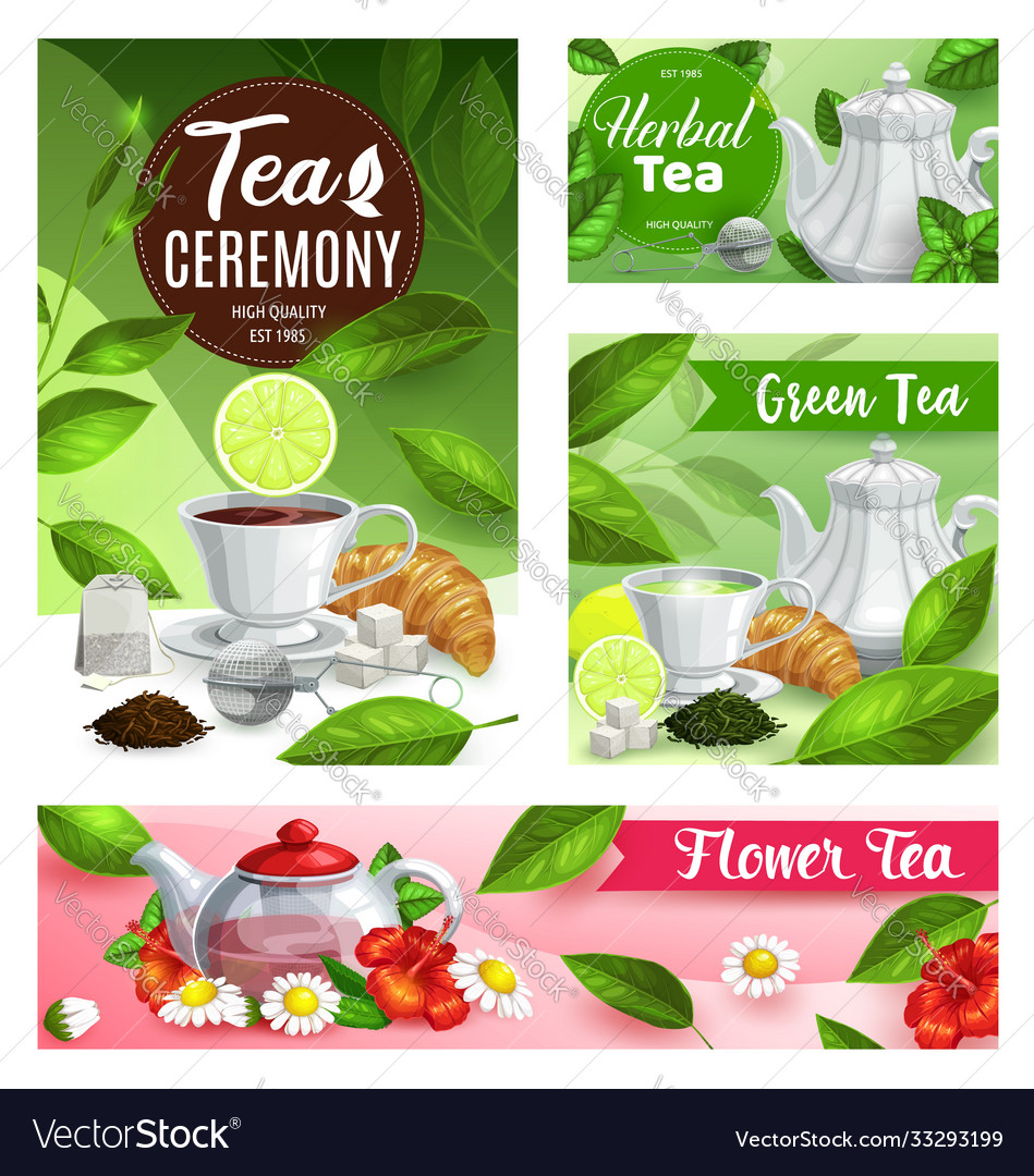 Tea posters with cup teapot and flowers