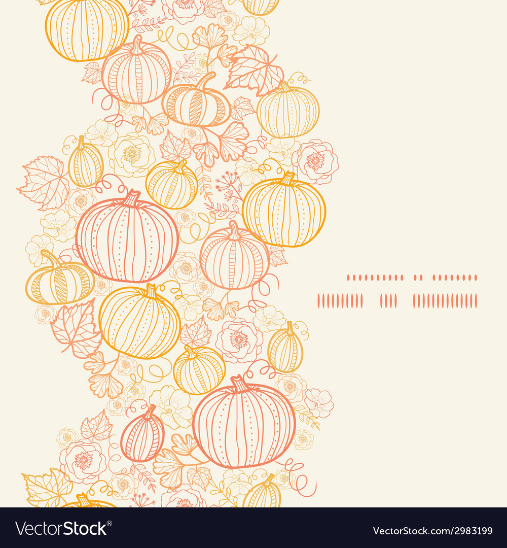 Thanksgiving line art pumkins vertical frame