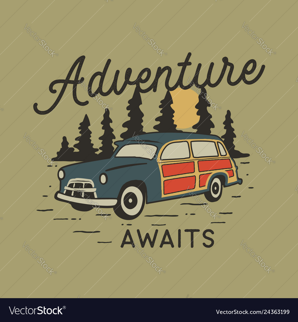Vintage hand drawn travel badge with camp car