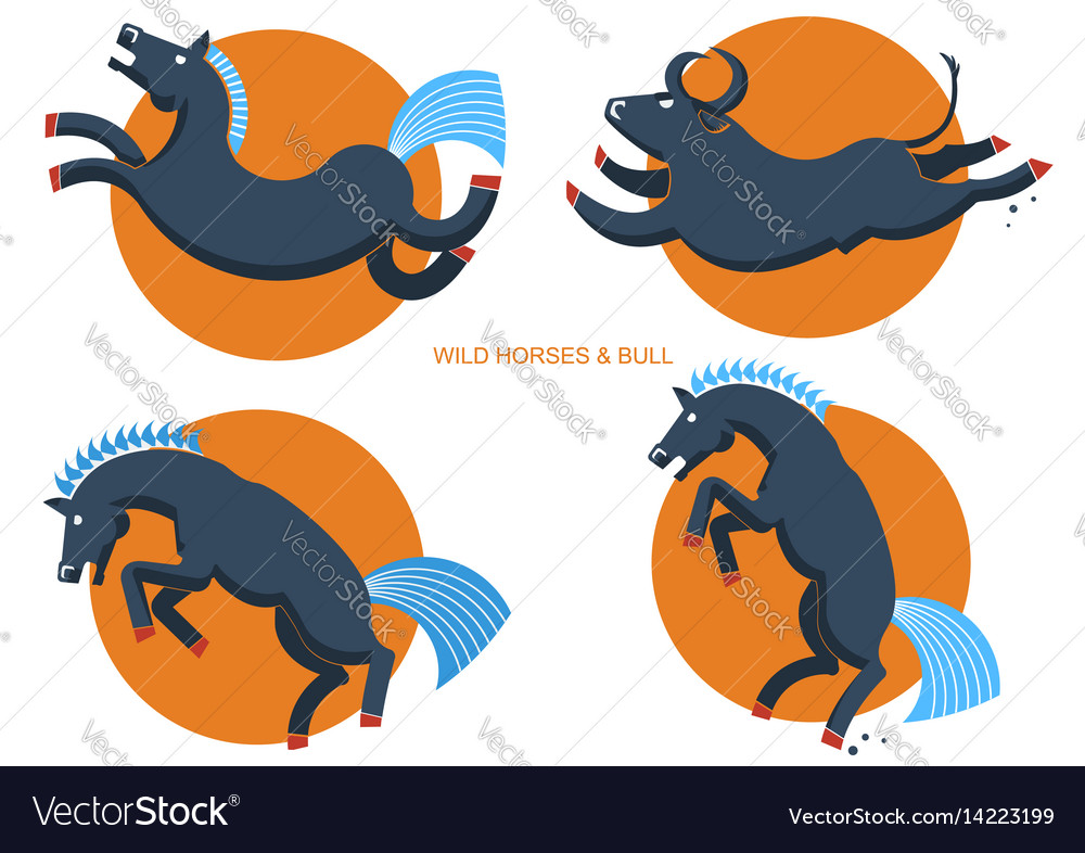 Wild horses and bullrodeo symbols vector image