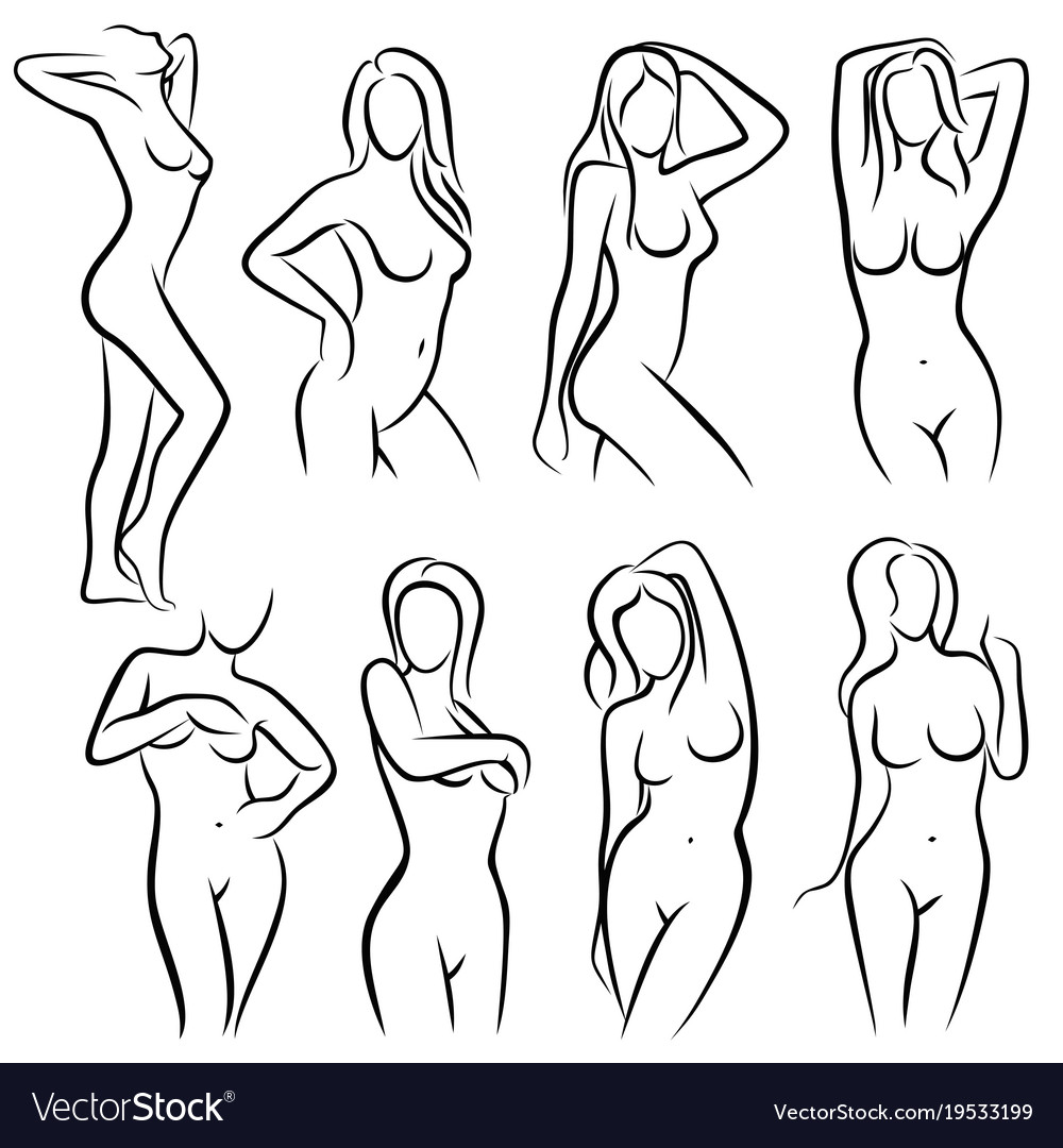 Young female body outline silhouettes