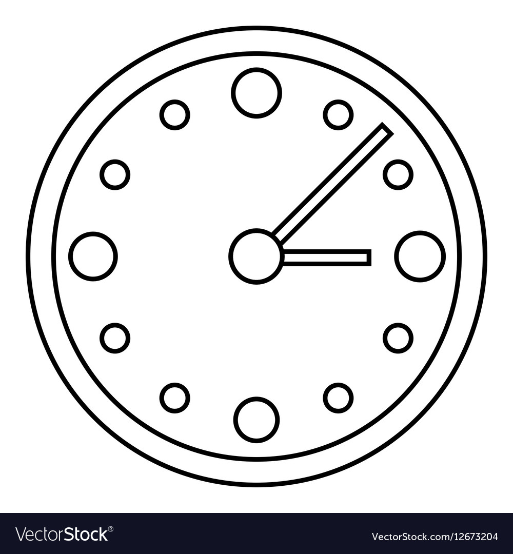 Big wall clock icon outline style vector image