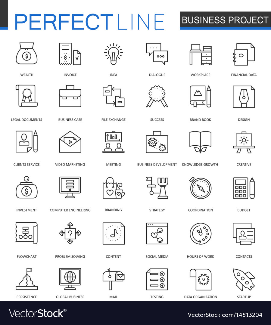 Business project thin line web icons set strategy