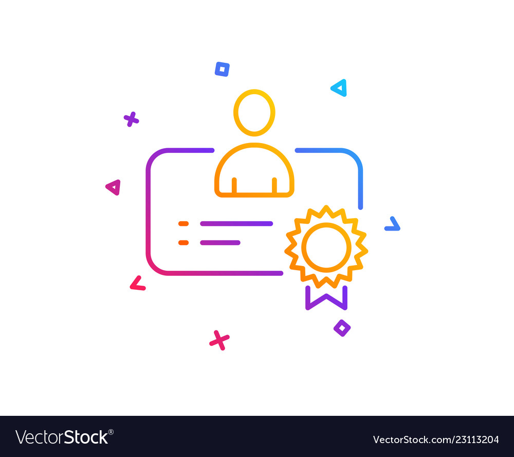 Certificate Line Icon Business Management Sign Vector Image