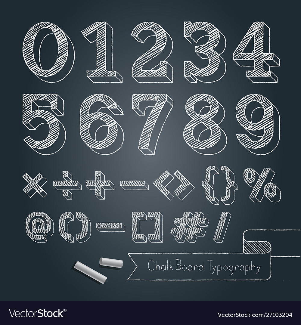 Chalkboard typography alphabet doodle style vector
