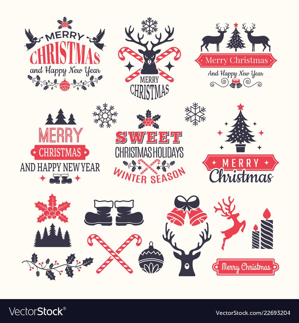 Christmas holiday labels vintage winter badges