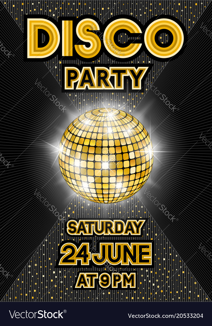 Golden disco ball on black background party