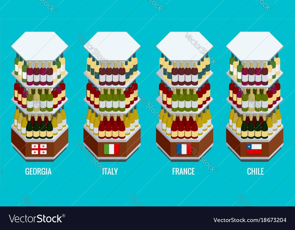Isometric wine bottles stacked on wooden racks
