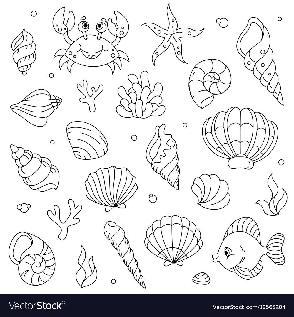 Lineart cartoon comic doodle sea animals vector image