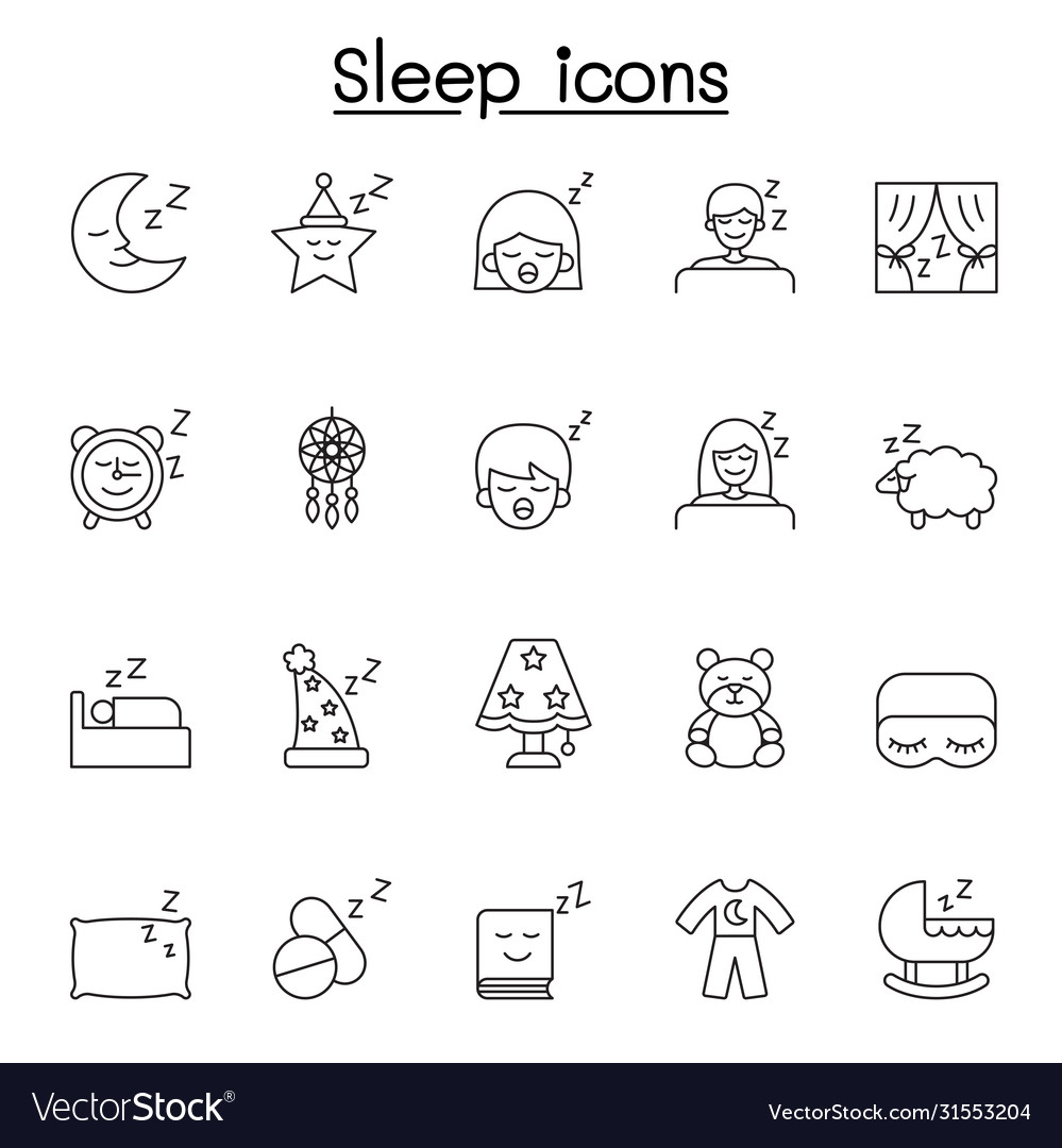 Sleep icons set in thin line style