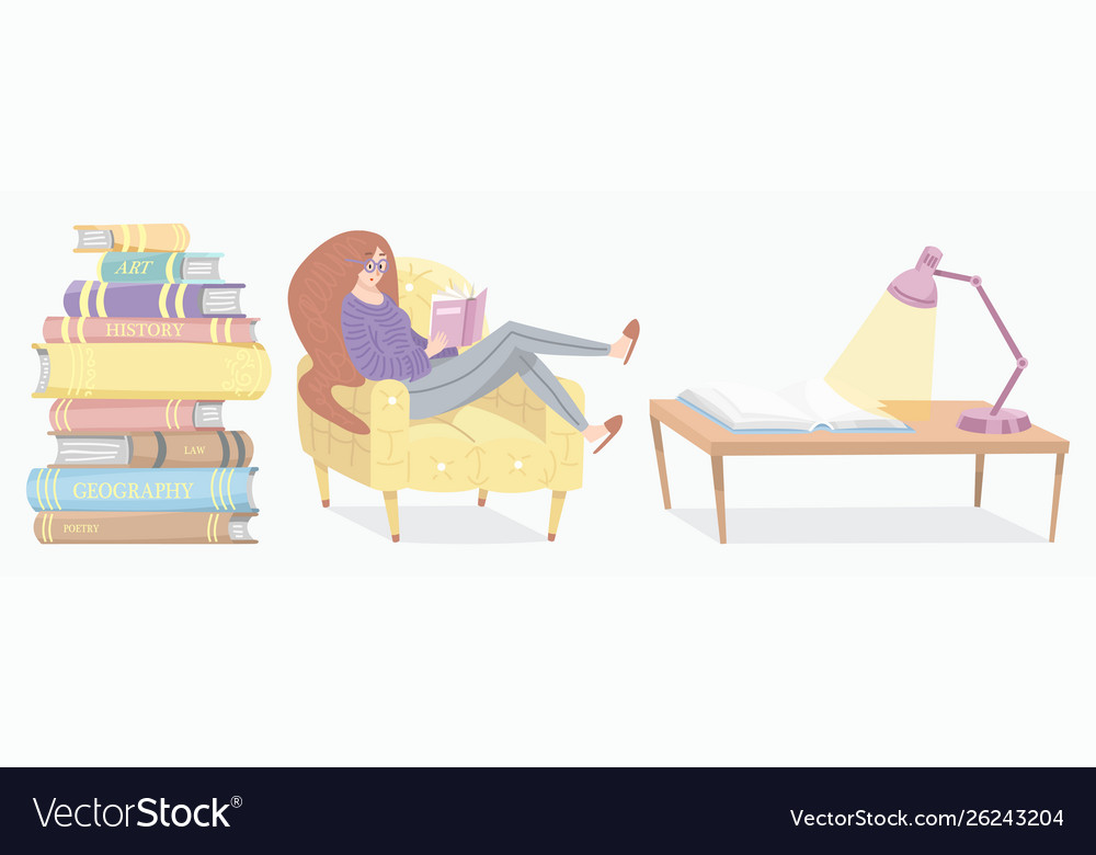 Stylish young female reading an open book lover