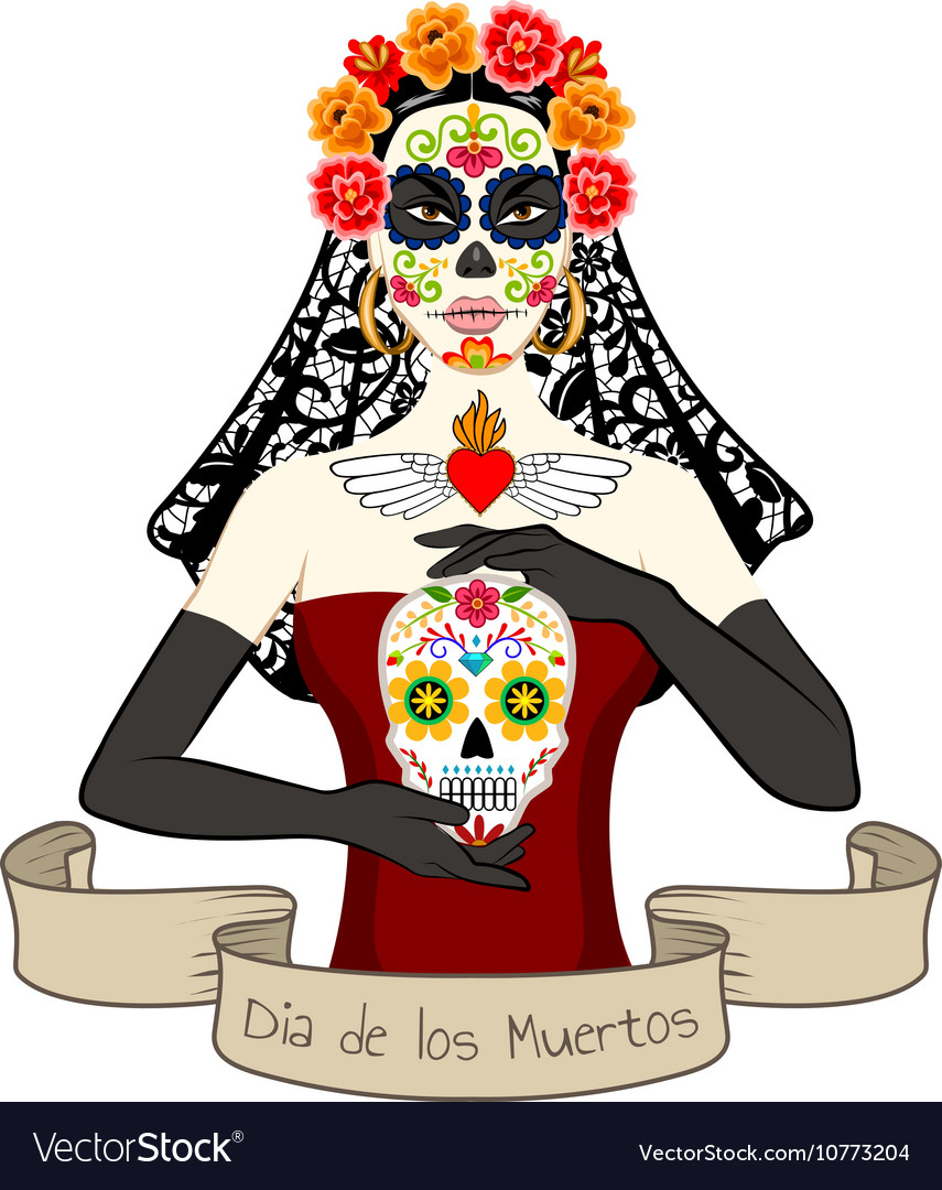 Woman with Dia Los Muertos make-up