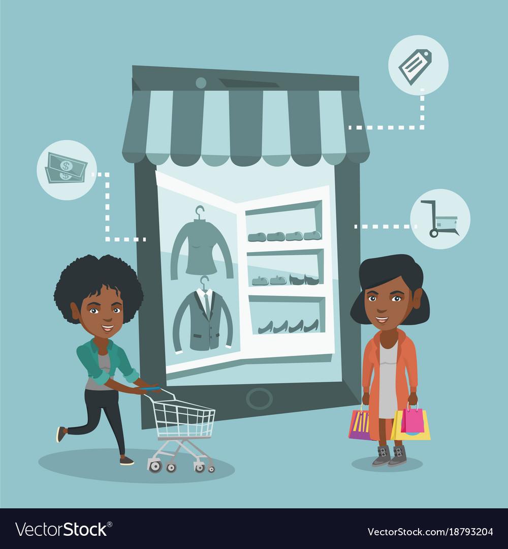 Women walking in store that looks like a tablet