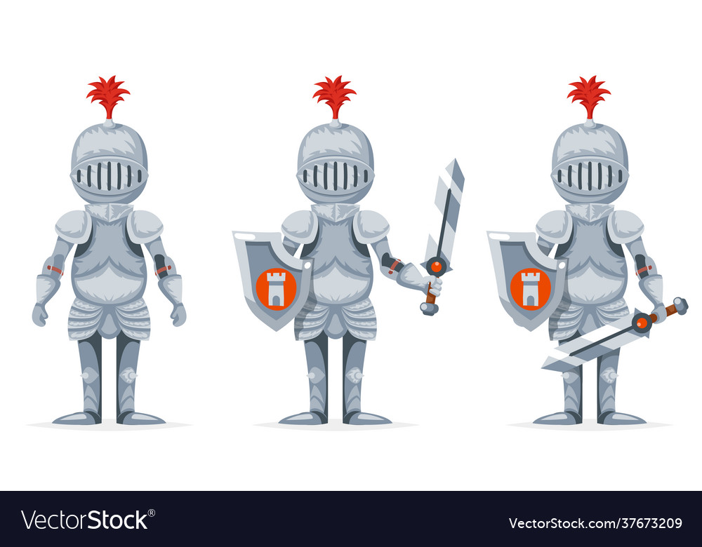 Cartoon medieval knight crusader character design