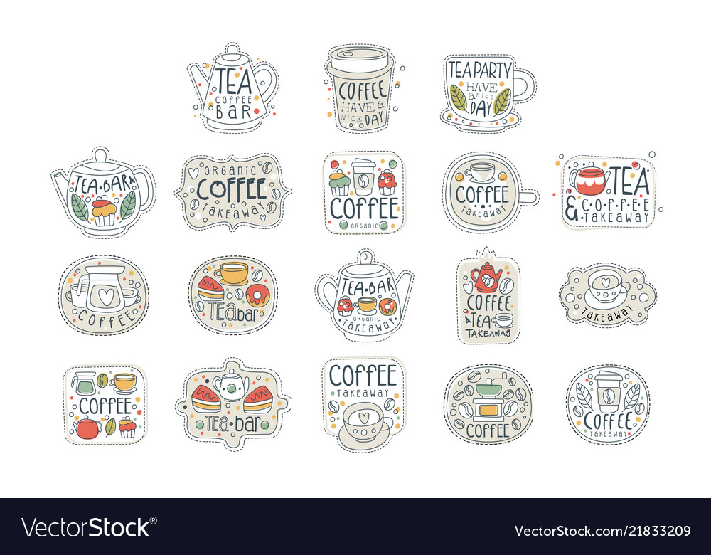 Coffee and tea labels for street shop cafe or bar