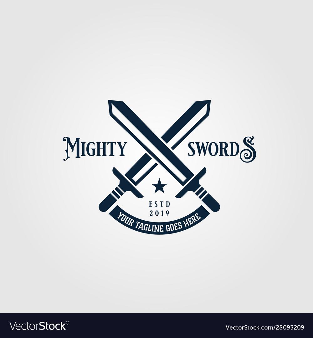 Crossed mighty sword logo vintage symbol design