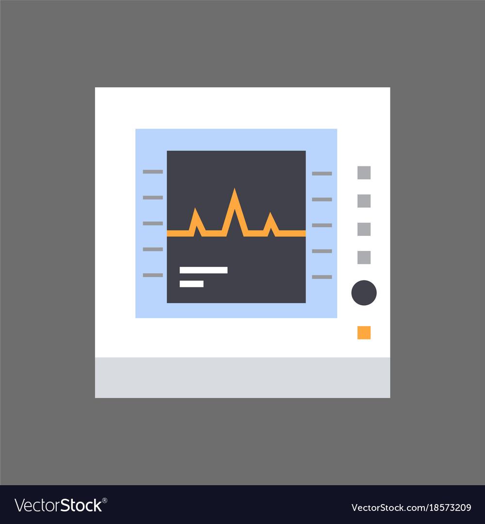 Electrocardiogram monitor icon ecg monitoring vector image
