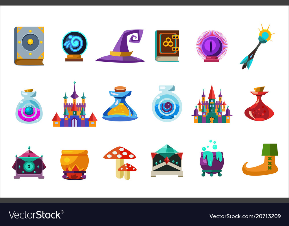 Flat set of fabulous items for mobile game