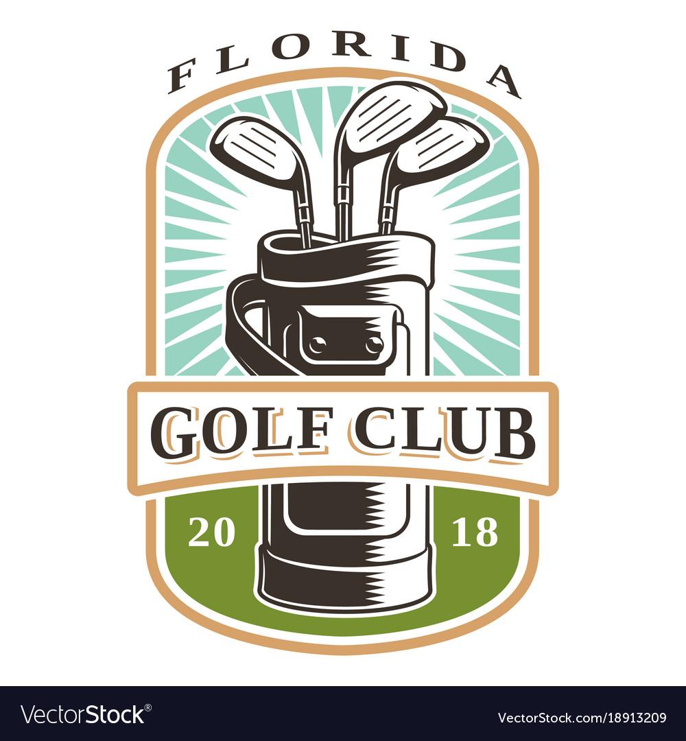 Golf clubs in bag logo