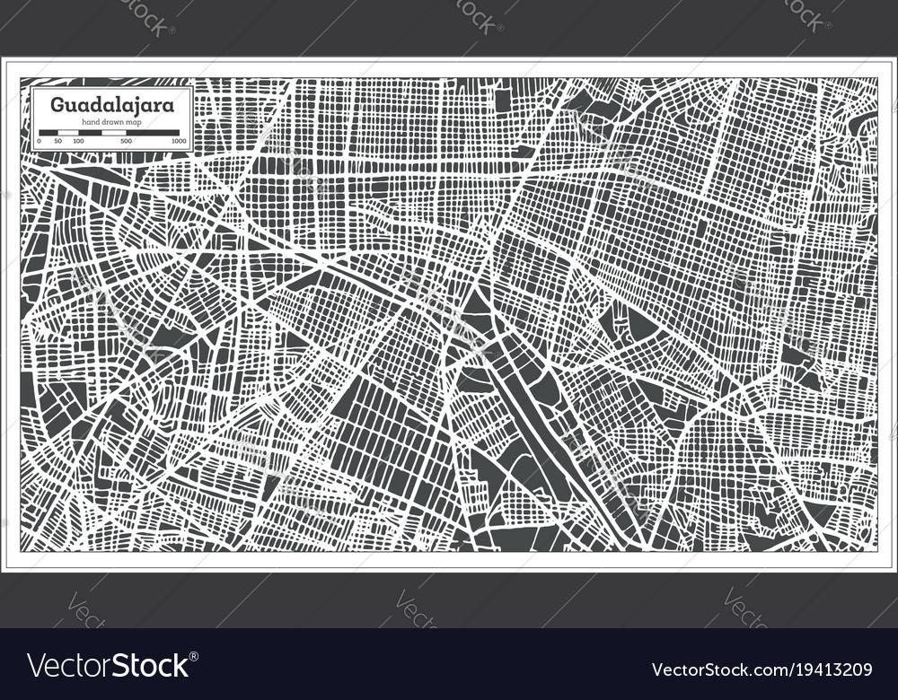 guadalajara mexico city map in retro style vector image