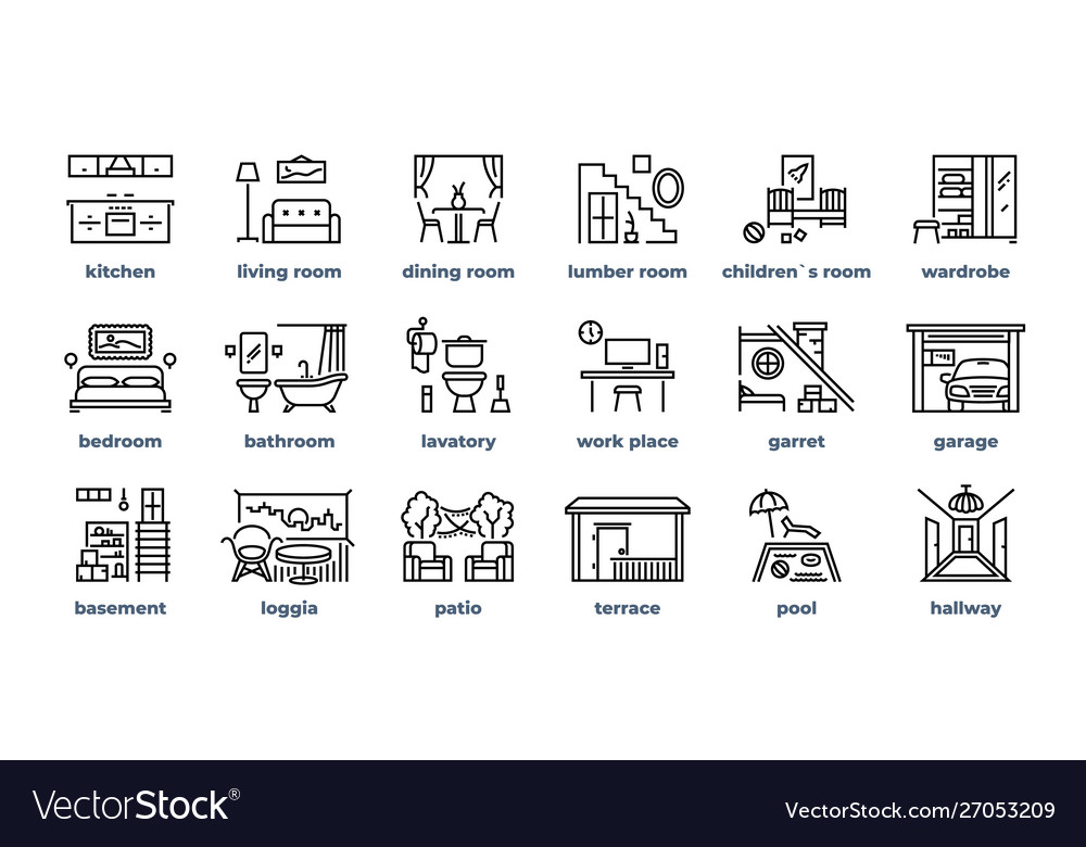 Home rooms line icons living room bedroom kitchen