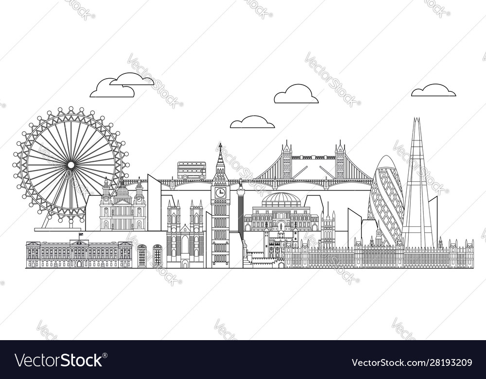 London skyline line art 5