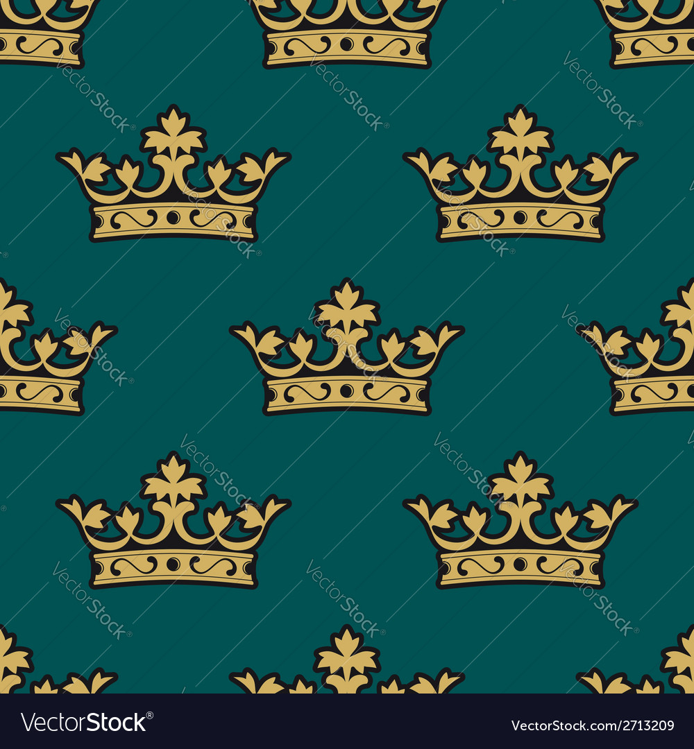 Royal seamless pattern with golden crowns