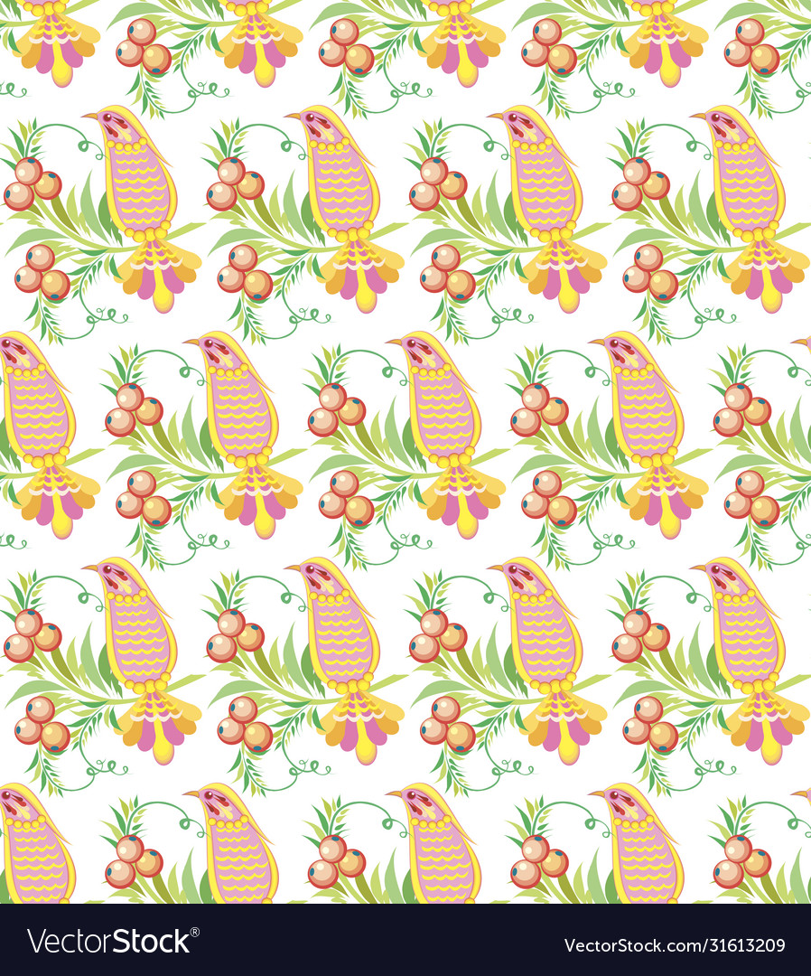 Seamless pattern ornament summer bird