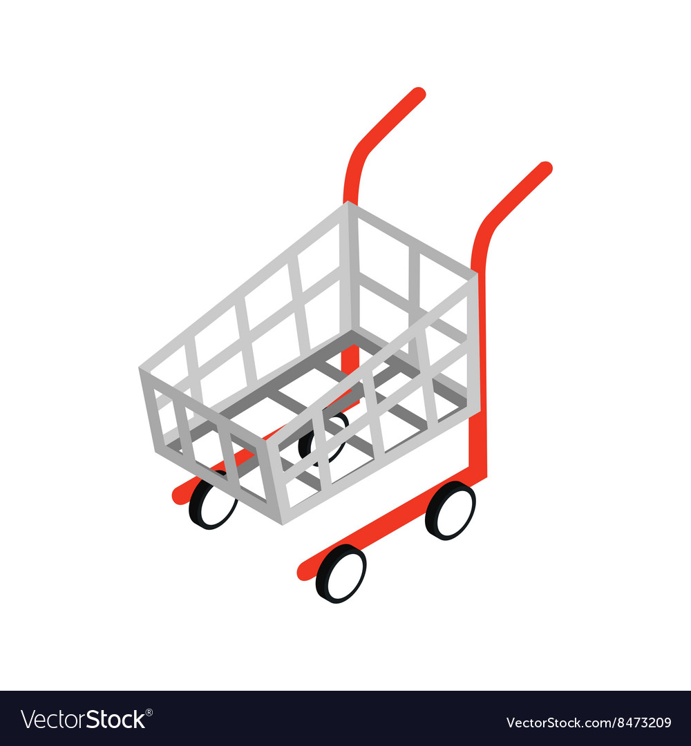shopping cart icon isometric 3d style royalty free vector