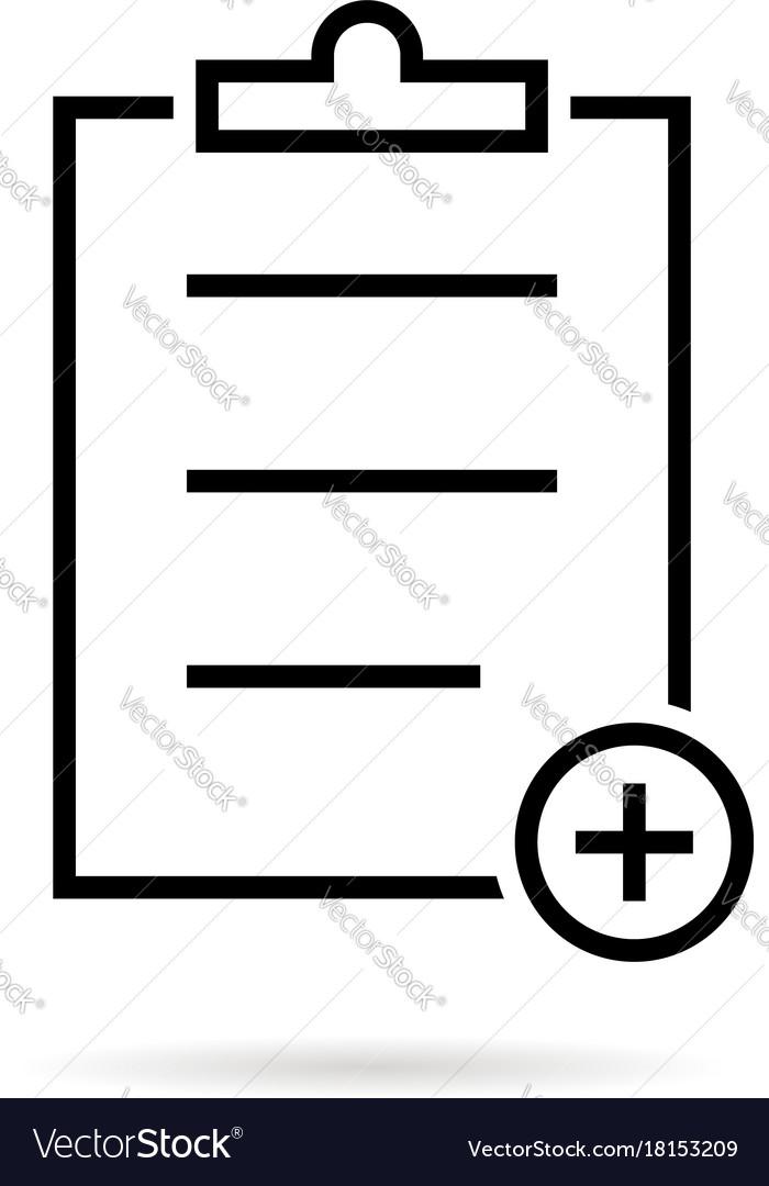 Thin Line Black Medical Prescription Icon Vector Image